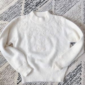 Vintage Angora & Lambswool Embroidered Sweater M